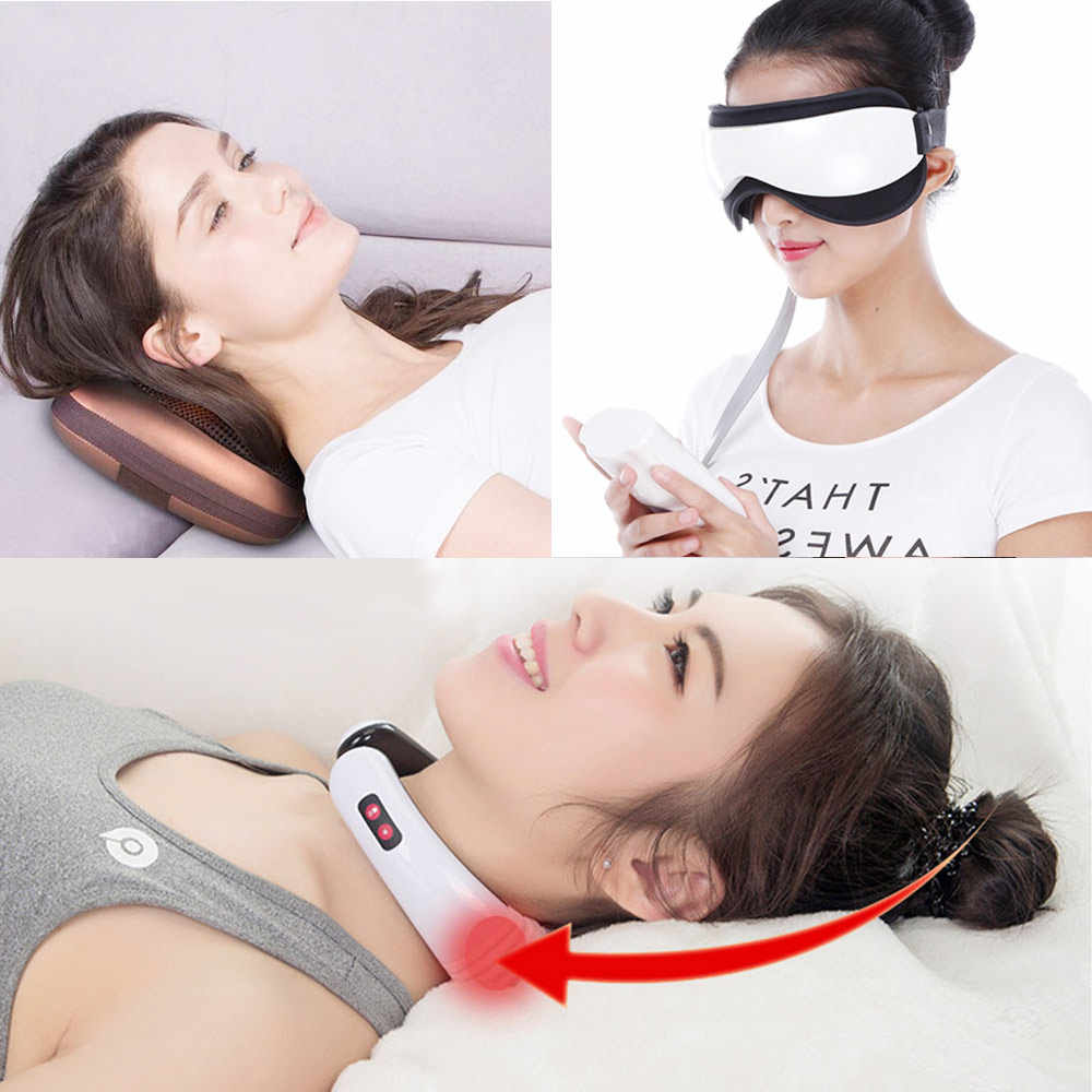 Vibration Eye Neck Head Massager Magnetic Air Pressure Infrared Heating Massage Glasses Electric Acupuncture Eyes Care Device