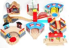 Estação de trem de madeira carro garagem brinquedo ponte magnética slot brinquedos conectados com trilha ferroviária de madeira interessante presente para crianças
