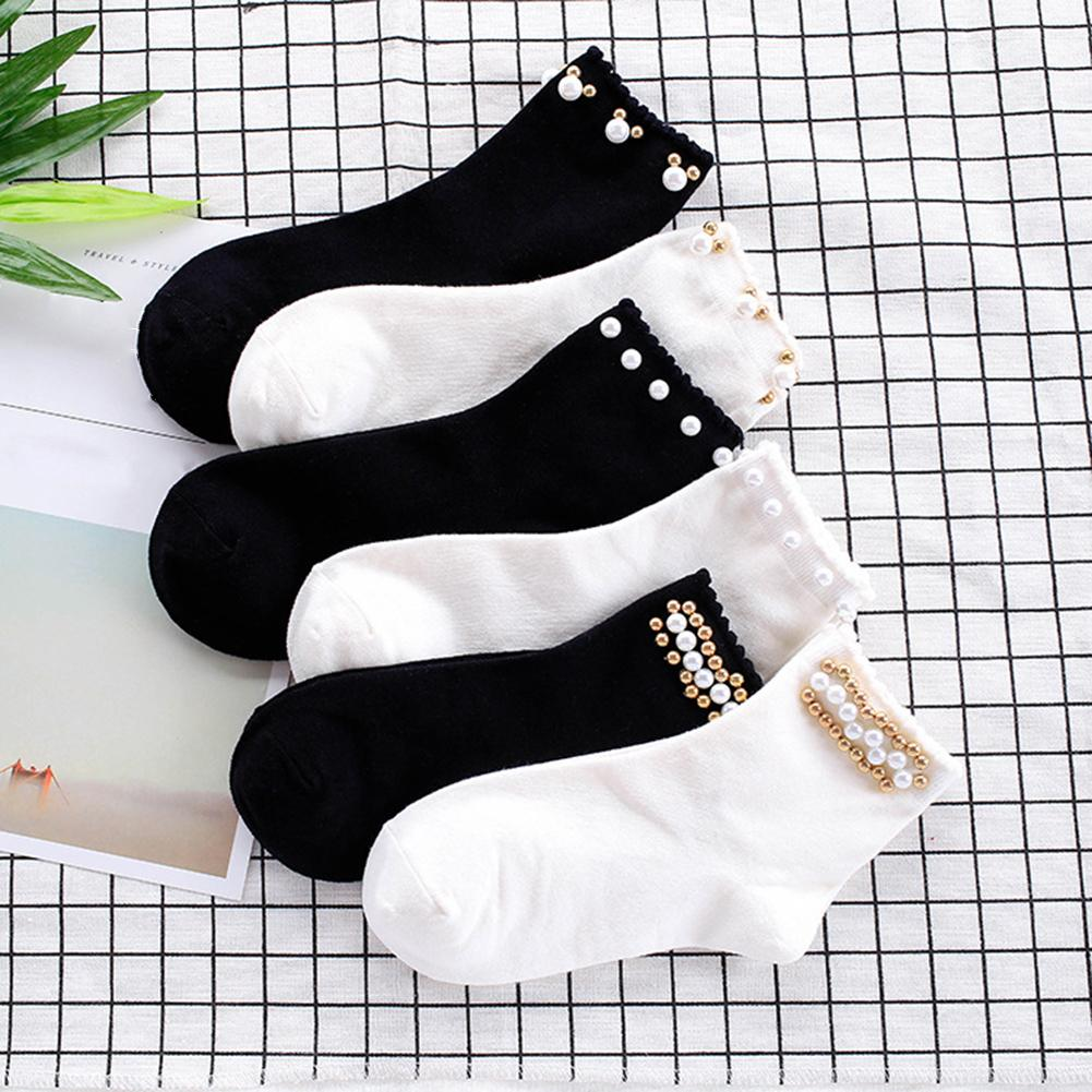Women Short Socks Dual Color Faux Pearl Beading Breathable Women's Elastic Short Socks Women Cotton Socks Japanese Harajuku Soc