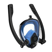 Snorkel Mask Full Face Large View Dual Tube Diving Anti-Fog Anti-Leak With Detachable For Mount Action Camera