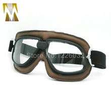 NEW Arrival WWII Vintage motorcycle goggles Pilot Motorbike goggles Retro Jet Helmet Eyewear 5 color lenses(China)