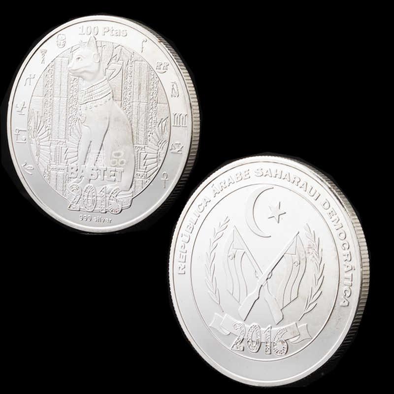 2016 Mitologia Egizia Gatto Dio Bastet Moneta con Placcato Argento Monete Commemorative Complementi Arredo Casa