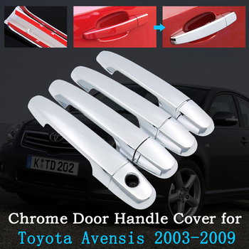 Chrome Car Door Handle Cover for Toyota Avensis T250 T25 2003~2009 Exterior Covering Trim Accessories 2004 2005 2006 2007 2008