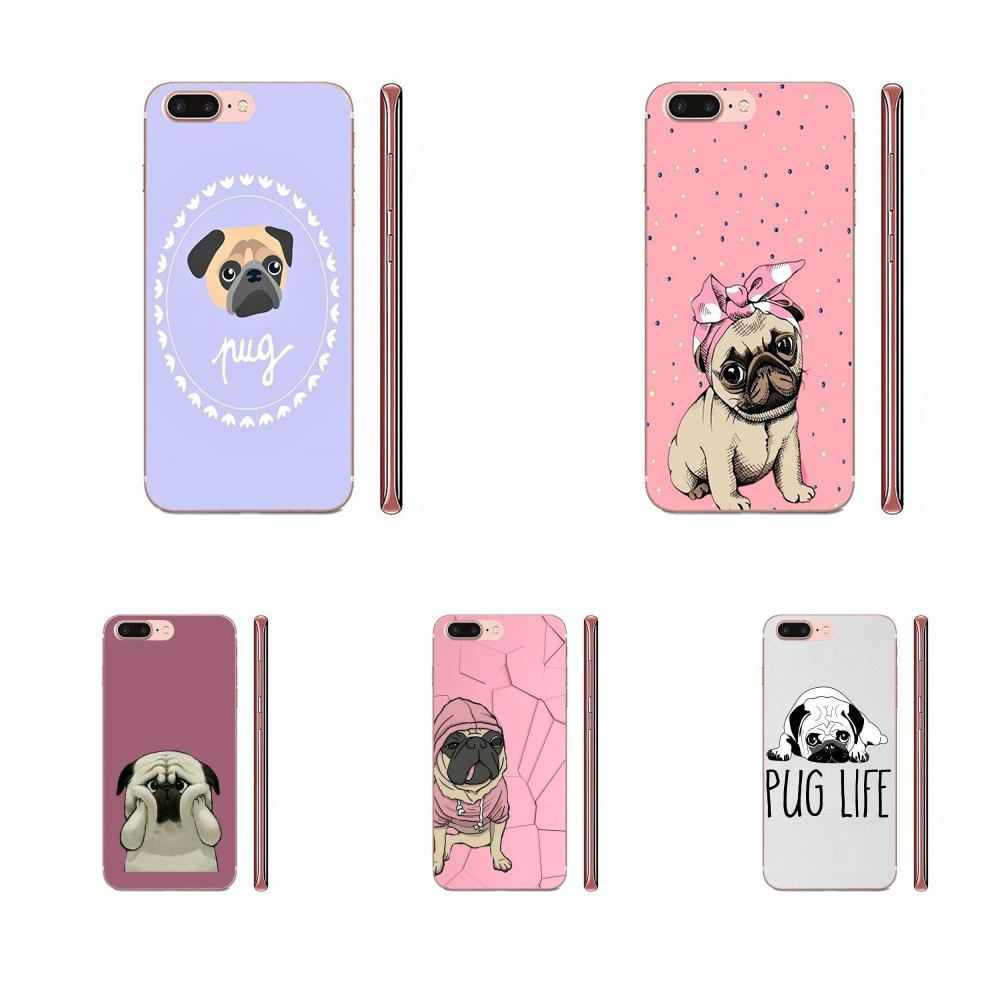Lovely Cartoon Pug <font><b>Dog</b></font> For <font><b>Samsung</b></font> <font><b>Galaxy</b></font> A10 A20 A20E <font><b>A3</b></font> A40 A5 A50 A7 J1 J3 J4 J5 J6 J7 2016 <font><b>2017</b></font> 2018 Soft Wholesale image