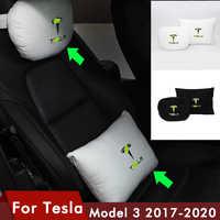 Cojín para reposacabezas de coche, almohada transpirable para el cuello, soporte para la cabeza, almohada de viaje Compatible con Tesla Model 3, novedad de 2020