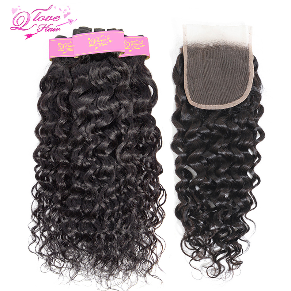 Queen Love Hair Malaysian Water Wave Bundles With Closure100% Human Remy Hair Weave Bundles Natural Black 3 Bundles With Closure