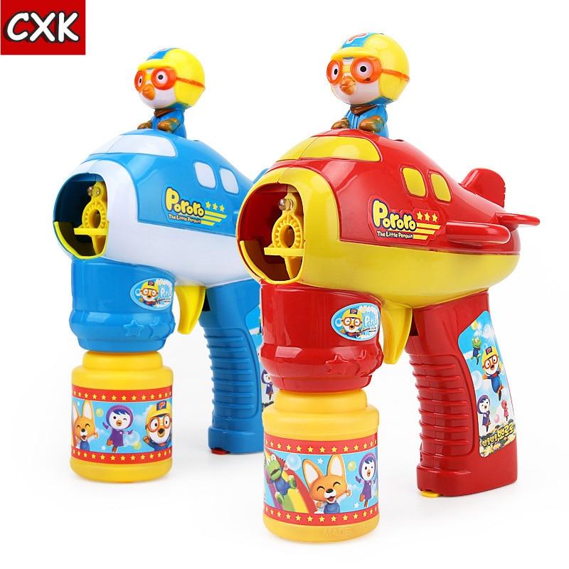 Korea Pororo Bubble Gun Water Blowing Flashing Light Up Children Bubble Summer Swimming Machine Kids Outdoor Child Plush Toy