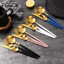 Tofok Luxury Dinnerware Set Stainless Steel Plating Gold Blue Black Knife Fork Tableware Cutlery White European Western 4pcs New