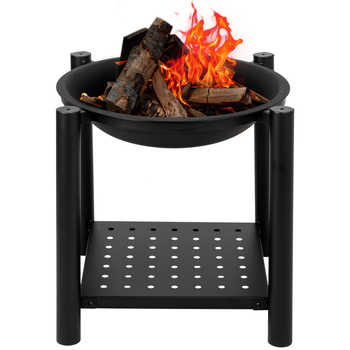 "22"" Four Feet Iron Brazier Wood Burning Fire Pit Decoration for Backyard Poolside Patio Deck with Shelf Outdoor Party Fireplace - DISCOUNT ITEM  30 OFF Home & Garden"