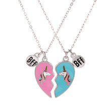 Birthday Gift for Best Friend Sister Heart Necklace BFF Unicorn Jewelry Gift for Friends or Fun Sister Gift Girls Gift(China)