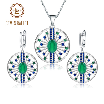 GEM'S BALLET 925 Sterling Silver Earrings Pendant Sets 3.88Ct Natural Green Agate Vintage Jewelry Set For Women Fine Jewelry