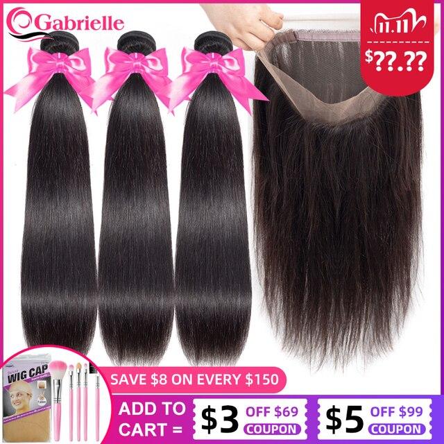 Mechones de pelo liso brasileño con Frontal Natural de Color Remy, 3 mechones de pelo humano con cierre Frontal de malla 360, de Gabrielle