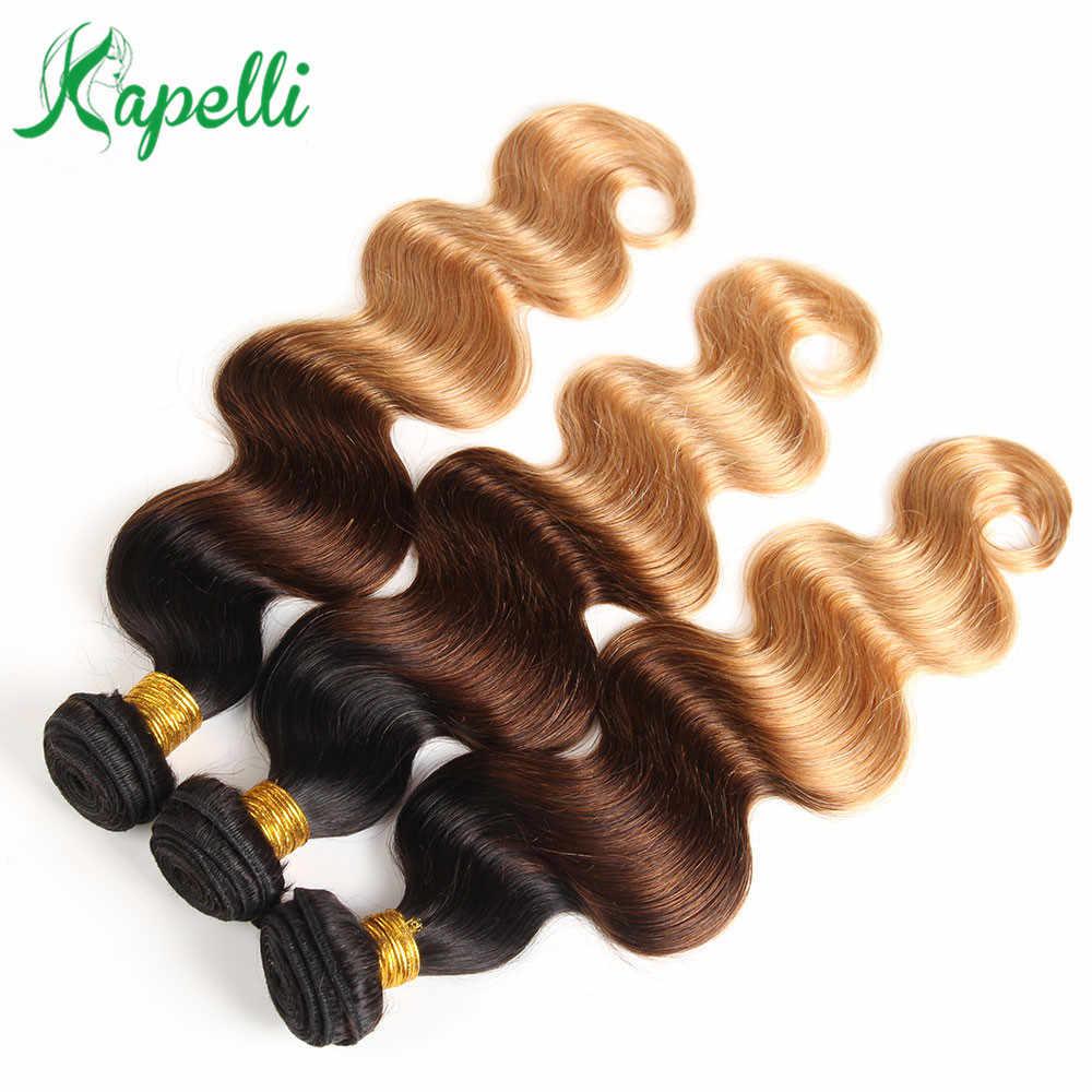 Ombre brasileño onda del cuerpo pelo armadura paquetes 1b/4/27 3 tonos Remy cabello humano 3 paquetes de luz extensiones de Cabello marrón envío gratis