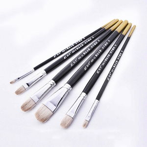 6Pcs/lot Round Shape wool Hair Wooden Handle Paint Brush Set Tool For Art School Watercolor Acrylic Painting Art Supplies