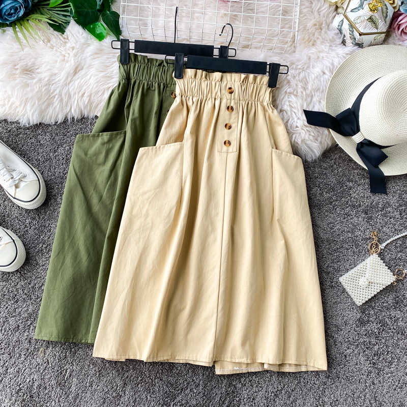 Fashion Korean Cotton Retro Skirt Female 2020 Women Pocket Elastic Waist Skirt Small A-line High Waist Skirt Womens Midi Skirts