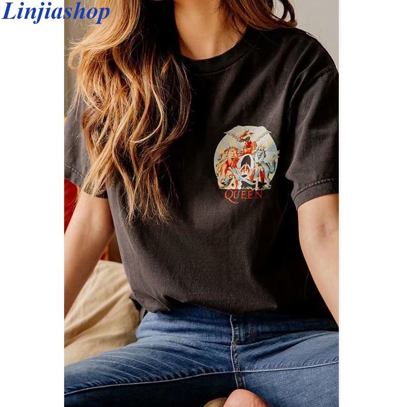 Camisetas de gran tamaño Queen, camisetas negras de verano de tela de algodón suave de alta calidad para mujer, camisetas de talla grande y fácil ajuste, envío directo