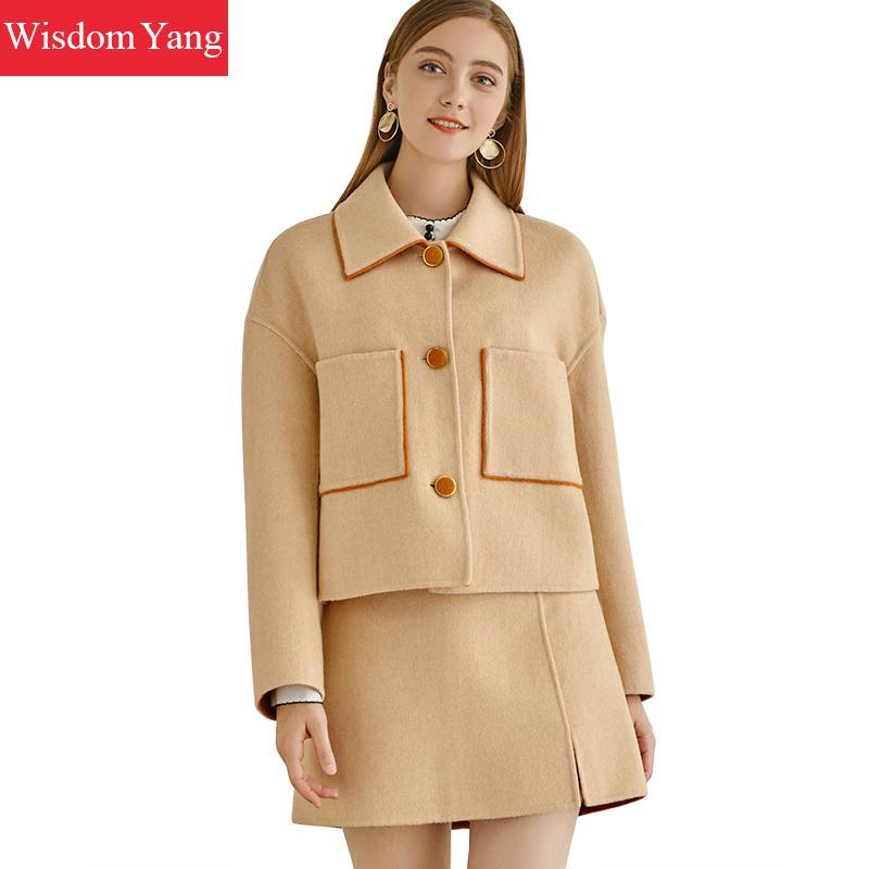 2 Piece Set Autumn Winter Cashmere Coat Jackets Womens Warm Wool Korean Orange Overcoat Office Ladies Aline Mini Skirt Clothes
