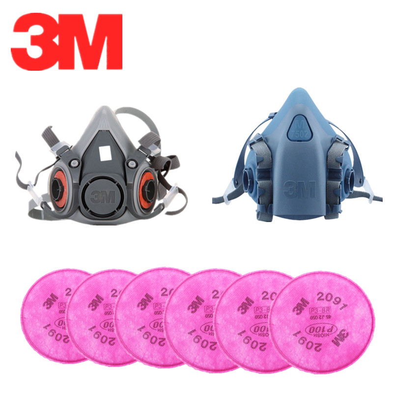 3M Gas Mask 6200/7502 With Filter 2091 Paint Spray Particles Dust Filter P100 Electrostatic Cotton Work Protection