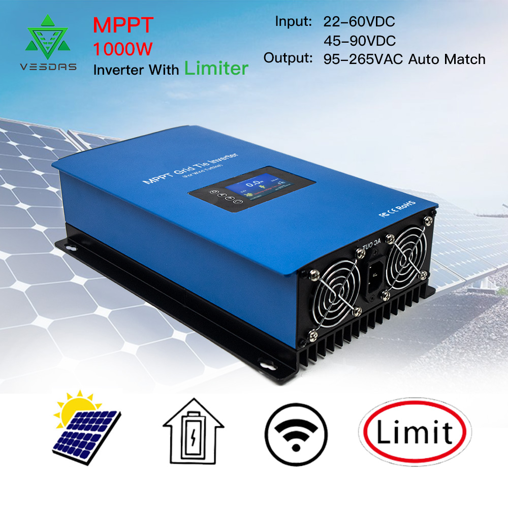1000W Solar Inverter Grid Tie MPPT MIcro inversor Battery Discharge Power Mode with Internal Limiter Sensor 24 48 VDC 95-265VAC