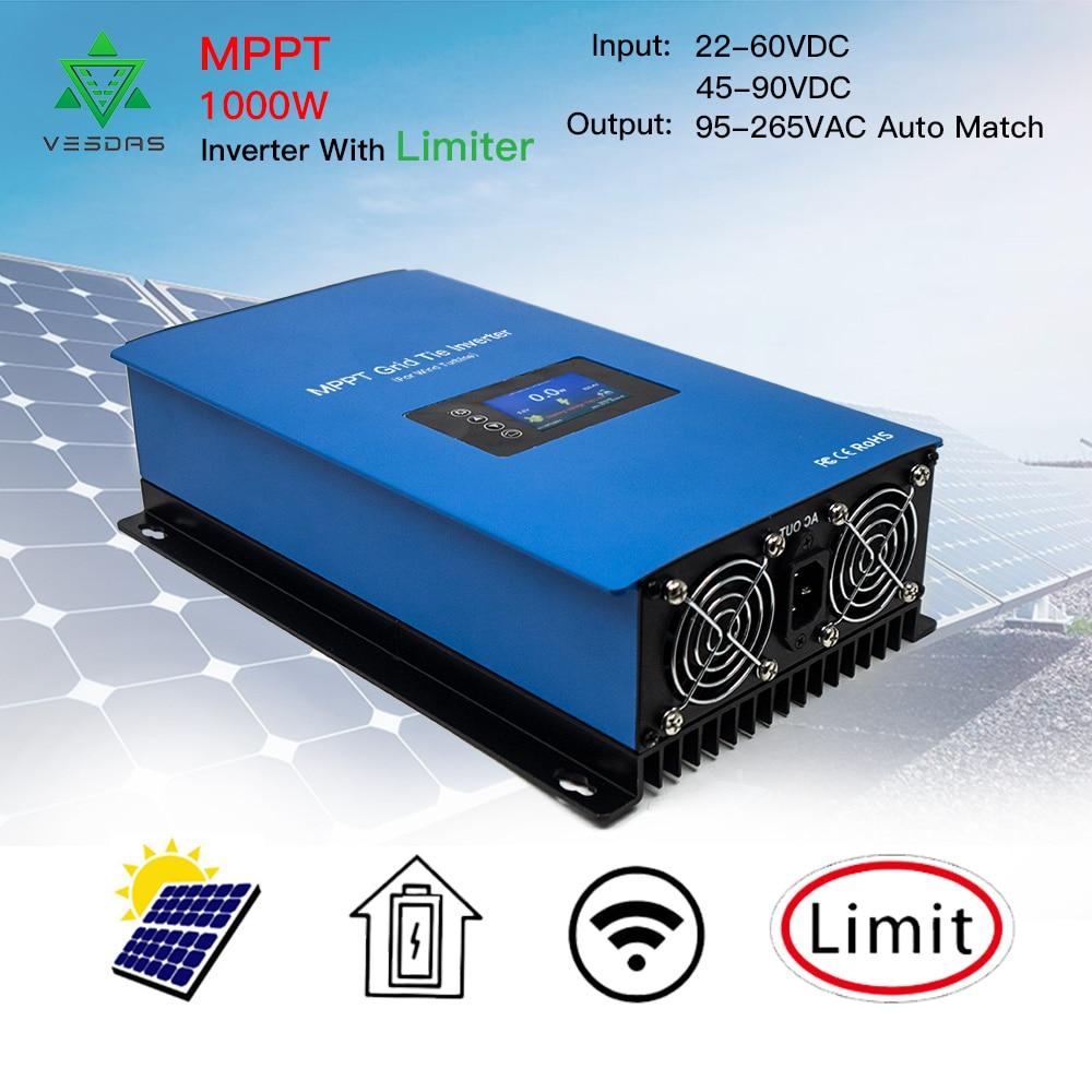 1000W Solar Inverter Grid Tie MPPT MIcro inversor Battery Discharge Power Mode with Internal Limiter Sensor 45-90VDC 95-265VAC