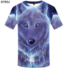 3d Tshirt Wolf T shirt Men Animal T-shirts Metal Anime Clothes Blue Funny shirts Harajuku Printed Mens Clothing