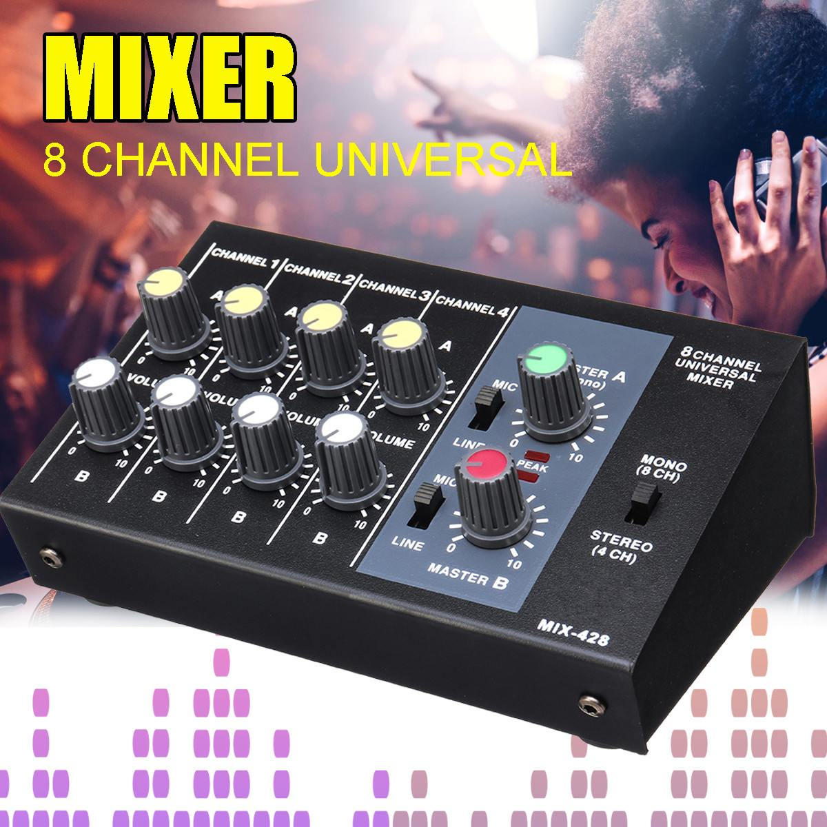 48V 5W Multi-Channel Digital Mixing Console Karaoke Universal Mixer Console Mono/Stereo Microphone Mixer Console Adjusting Panel