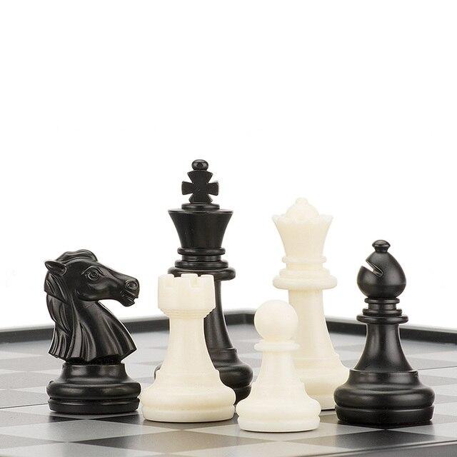 Jeu d'échecs International mégnétique haut de gamme avec jeu de damme Backgammon inclu pliable 5