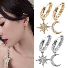 New Arrival Fashion Earrings 2019 Asymmetrical Star Moon Hoop Classic Geometric  Exquisite Crystal Ear Drop 1 Pair