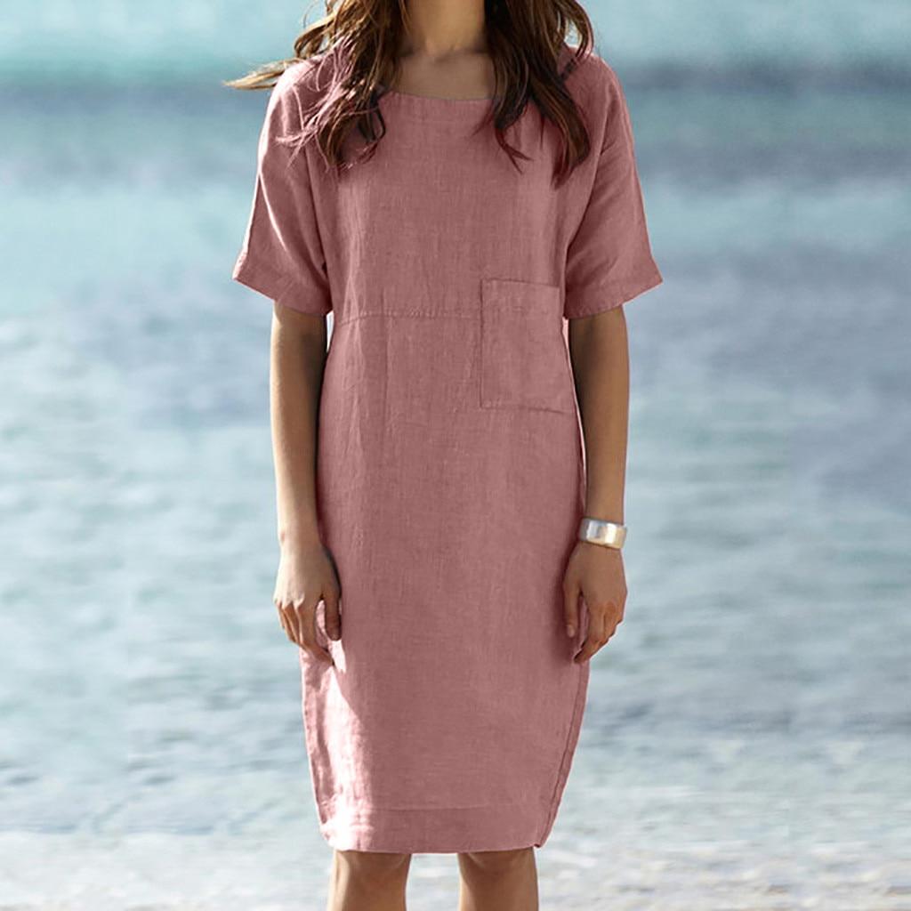 vestido de mujer Womens Summer Short Sleeve Linen Dress Loose A line Party Sundress Pocket Dress