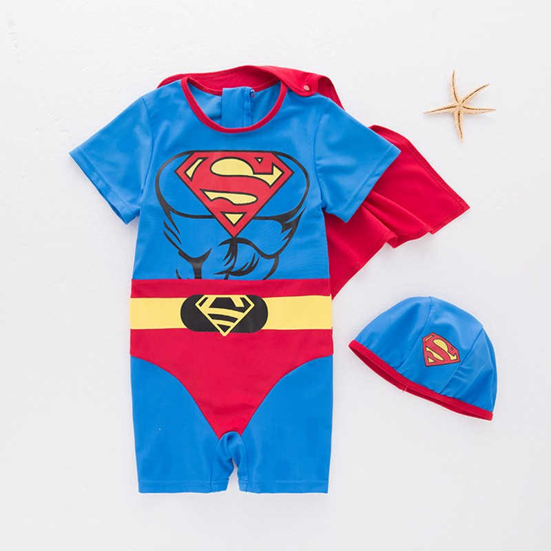 New Summer Boy Baby Swimwear With Cap Super Man Swimming Suit Infant Toddler Swimwear Kids Beach Bathing Unicorn Shark Swimwear