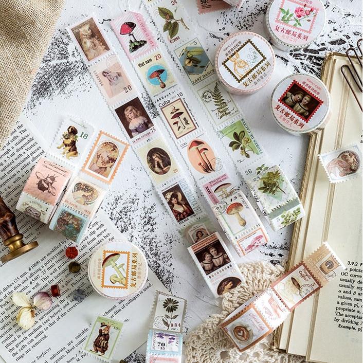 Vintage Postmark Forest Theme Decorative Paper Washi Tape Adhesive Masking Tape Stationery Sticker Stick Label