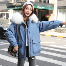 Fashion Autumn Warm Winter Jackets Women Fur Collar Short Parka Plus Size Lapel Casual Cotton Womens Outwear Park XXXL