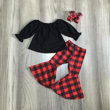 new Christmas Fall/Winter outfit children cotton clothes ruffles red black plaid pants ruffles Bell bottoms match accessories