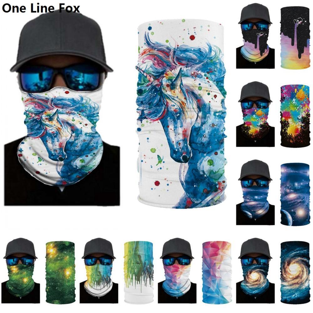 Unicorn 3D Seamless Earth Map Balaclava Magic Face Mask Warmer Motorcycle Ski Neck Gaiter Ghost Shield Anti-UV Men Headband Sun