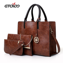 Women's Bag Set Fashion PU Leather Ladies Handbag Solid Color Messenger Bag Shoulder Bag Wallet Bags For Women 2020 New red wedding pu leather fashion new african shoes and bag set for party italian shoes with matching bag new design ladies bag