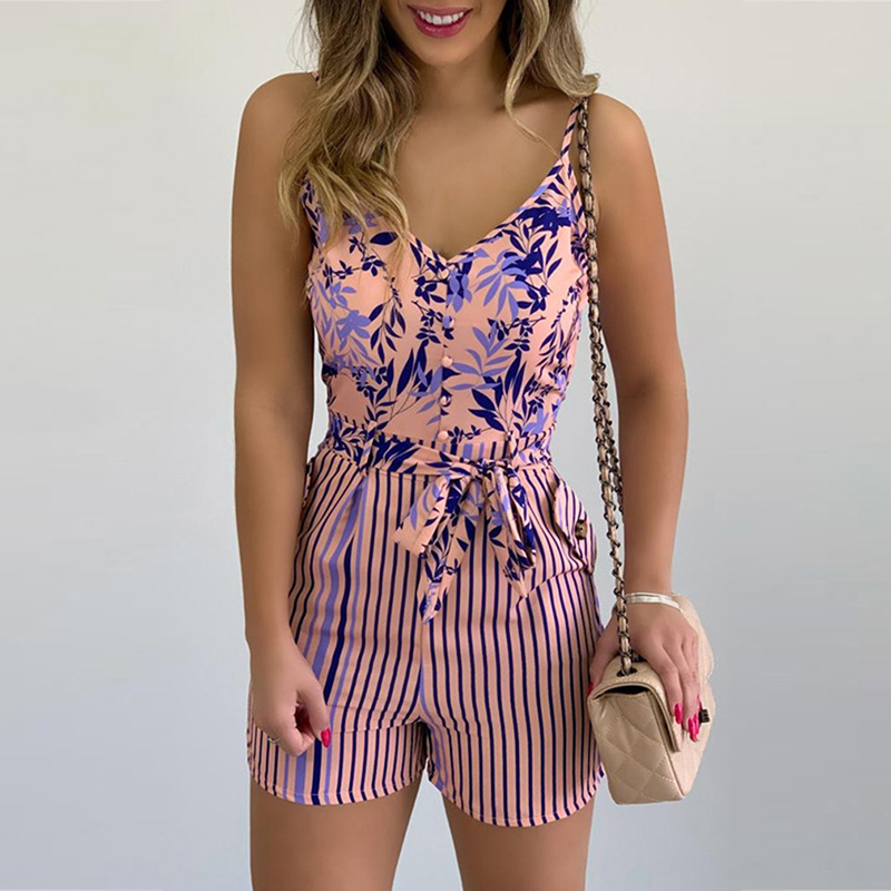 2021 Fashion Women Summer Print Jumpsuit Casual Slim Short Sleeve V Neck Beach Rompers Sleeveless Bodycon Sexy Playsuit