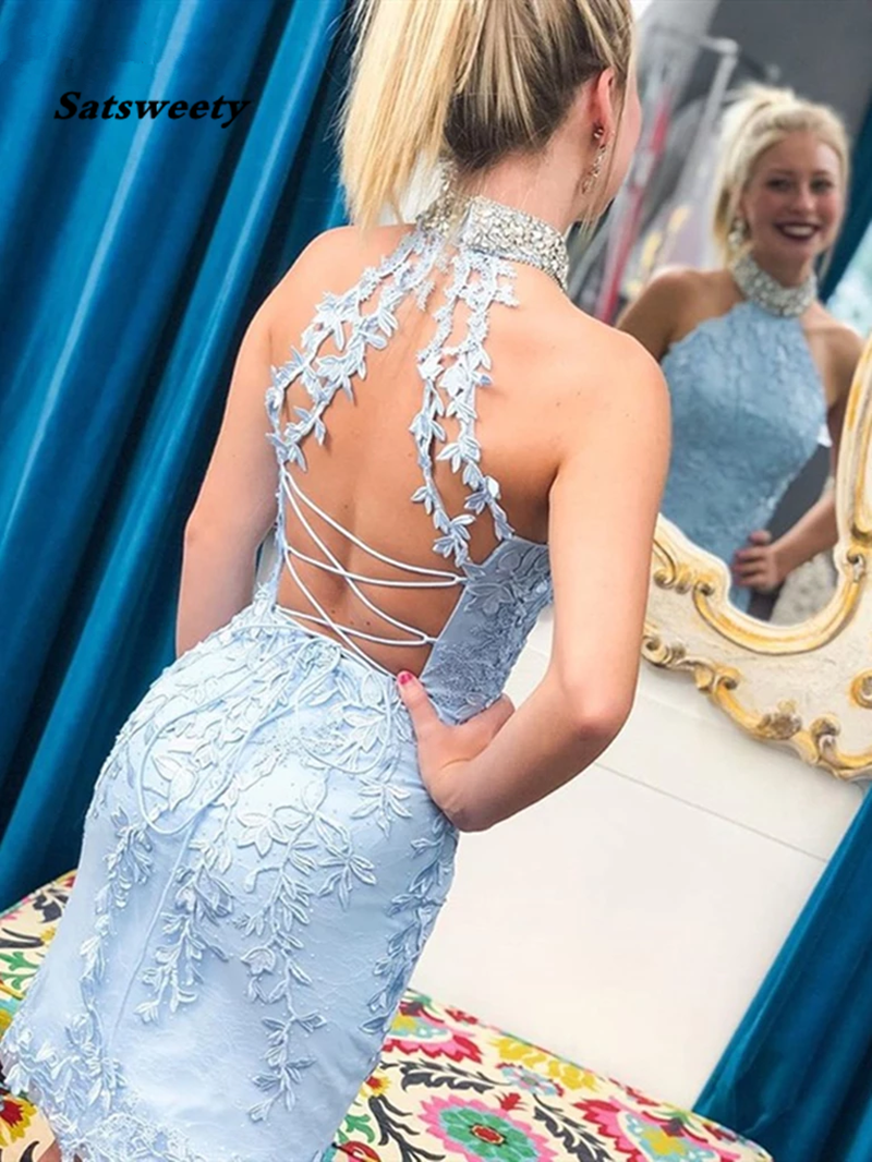 High Neck Beaded Mermaid Light Blue Lace Short Prom Homecoming Dresses 2020 Party Dress Formal Graduation Special Occasion Gown