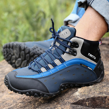 Men Hiking Shoes Waterproof Breathable Leather woodland trek
