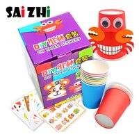 Saizhi 12pcs Children 3D DIY handmade paper cups sticker material kit Kids kindergarten school art craft educational toys Gifts