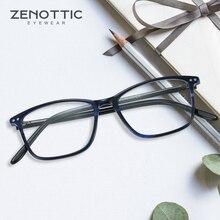 ZENOTTIC Brand Design Rectangle Glasses Frame Men Acetate Square Optical Myopia Spectacles Ultra Light Acetate Square Eyewear