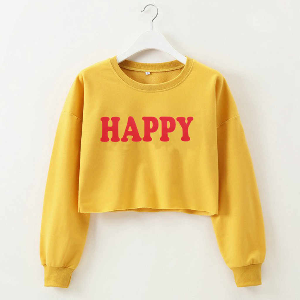 Hoodies oversize frauen Sweatshirt Casual Solide GLÜCKLICH Brief Drucken lange hülse o-ansatz harajuku Kurze Tops Pullover jumper k-pop