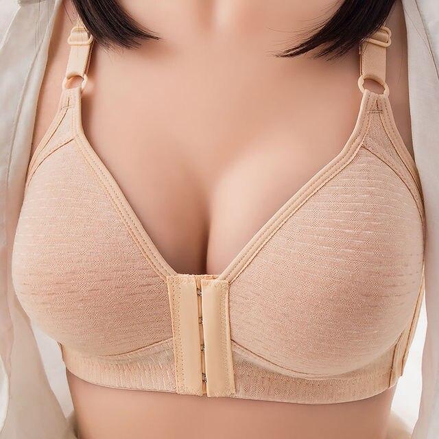 Non-wire Bra Front Buckle Seamless Vest Lace Bra Beautiful Back Plus Size Underwear Breastfeeding Bra Front Closure Lace Bra 3