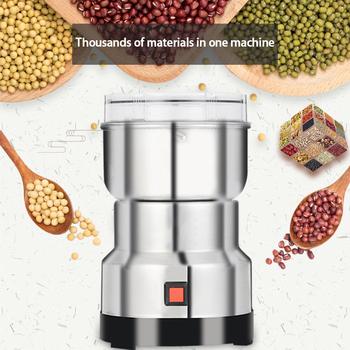 220V elektryczny młynek do kawy młynek do kuchni frezarka zboża orzechy fasola przyprawy młynek młynek do kawy maszyna tanie i dobre opinie Qitherm CN (pochodzenie) Coffee Grinder Szlifierek zadziorów (płaskie koła) STAINLESS STEEL Elektryczne 150W