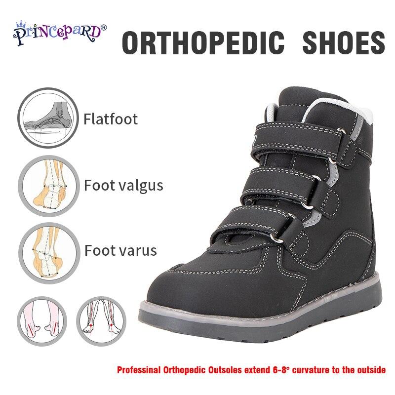 Princepard hiver enfants bottes de neige enfants chaussures orthopédiques avec Support de cheville pour filles garçons 100% velours enfants cheville chaussures