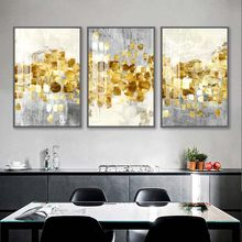 Nordic Abstract Golden Foil Canvas Painting Modern Grey Gold Wall Art Posters and Prints Pictures For Living Room Home Decor