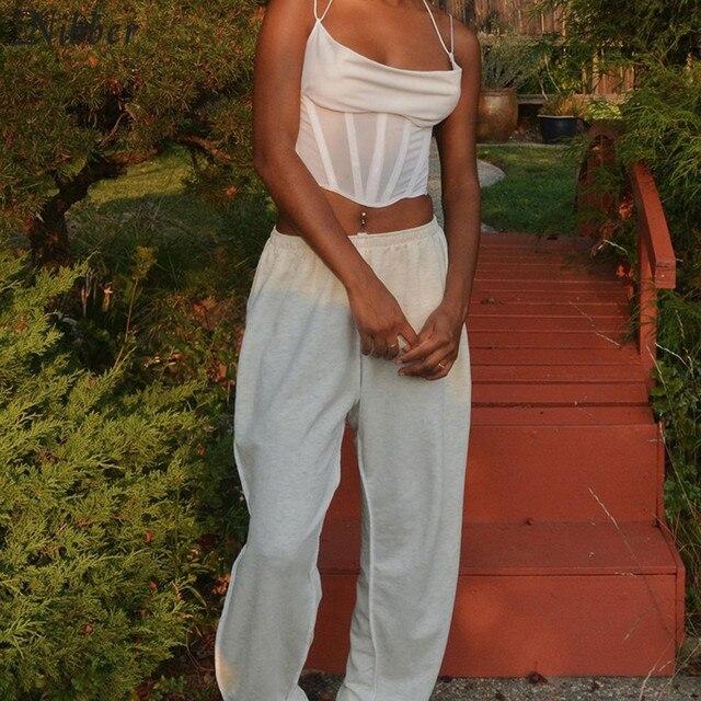 Nibber-camisola de algodón con transparencias para mujer, vestido sin mangas de encaje básico, camiseta sin mangas de punto a la moda para el hogar 6