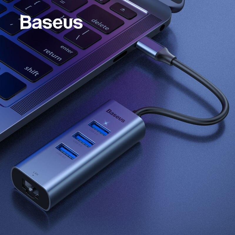 Baseus USB C Ethernet Usb Type C To RJ45 HUB Adapter For MacBook Pro Xiaomi Mi Box 3/S Samsung S10 S9 Network Card USB Lan