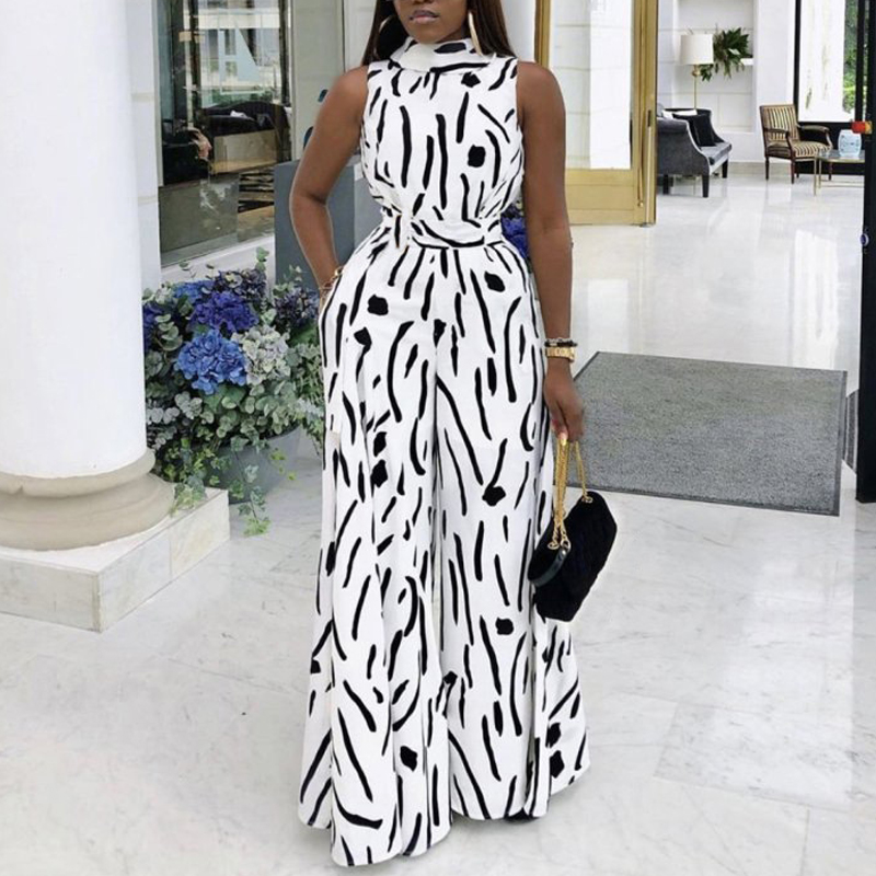 Black White Printed Jumpsuit Sleeveless Wide Leg Fashion Summer New Casual Female Ladies Large Size Ladies Playsuits Romper 2020