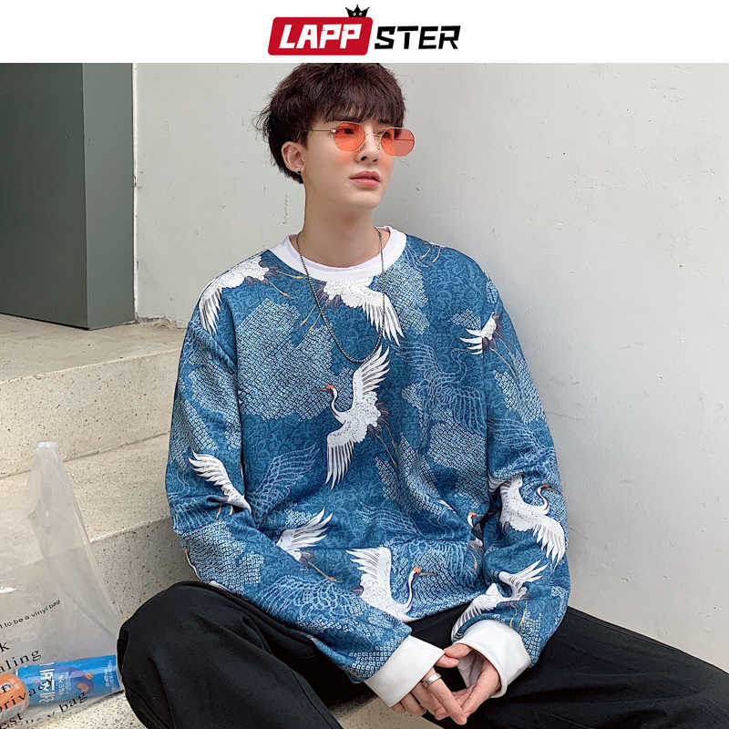LAPPSTER Men 패치 워크 크레인 Oversized Hoodies 2020 Mens 일본 Streetwear 힙합 스웻 셔츠 남성 하라주쿠 Kpop Hoodie 5XL