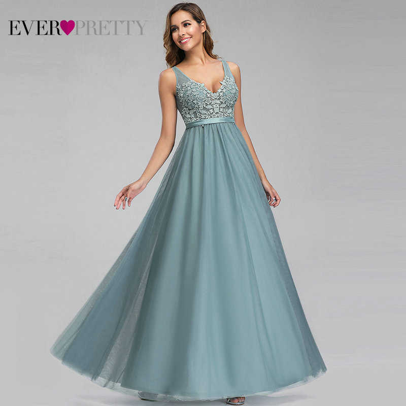 Ooit Pretty Tulle Bruidsmeisje Jurken V-hals Applicaties Elegante Lange Jurken Voor Wedding Party EP00930 Vestidos De Madrinha
